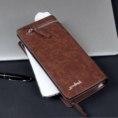 Men's Bifold Zip Coin Wallet Multi Card Purse Handbag