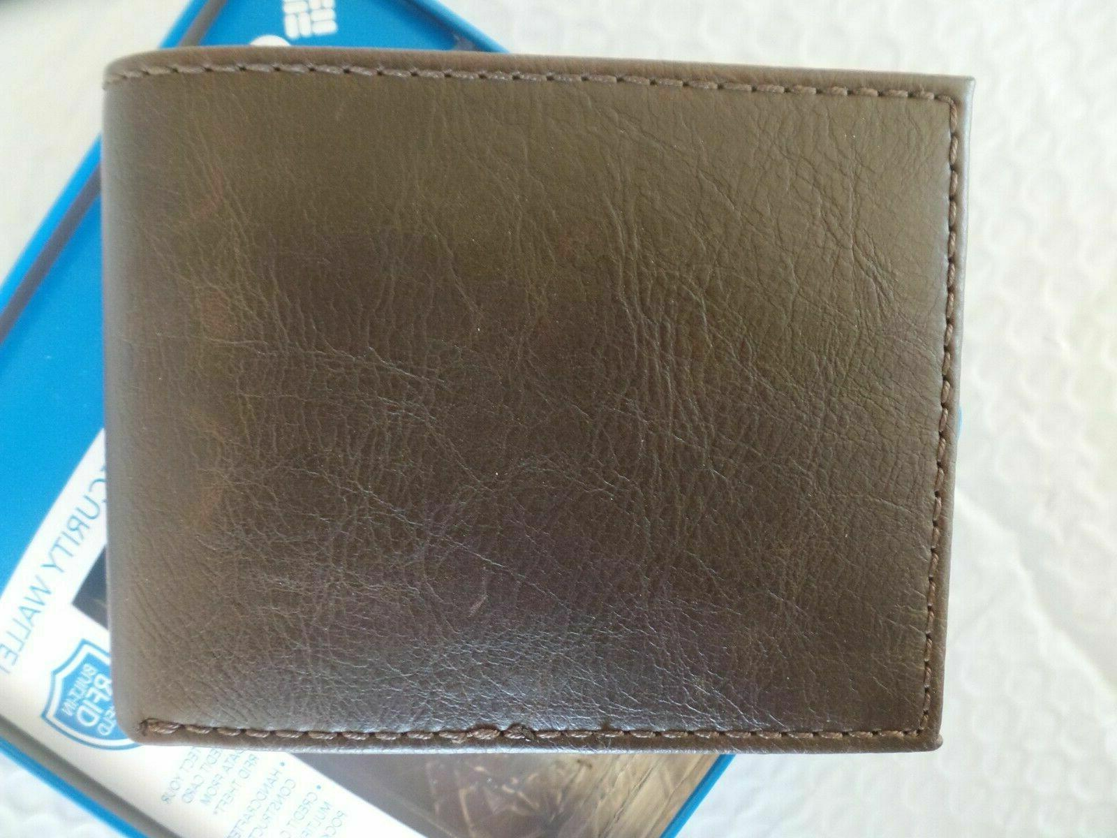 Columbia Men's RFID Security Shield Wallet BROWN
