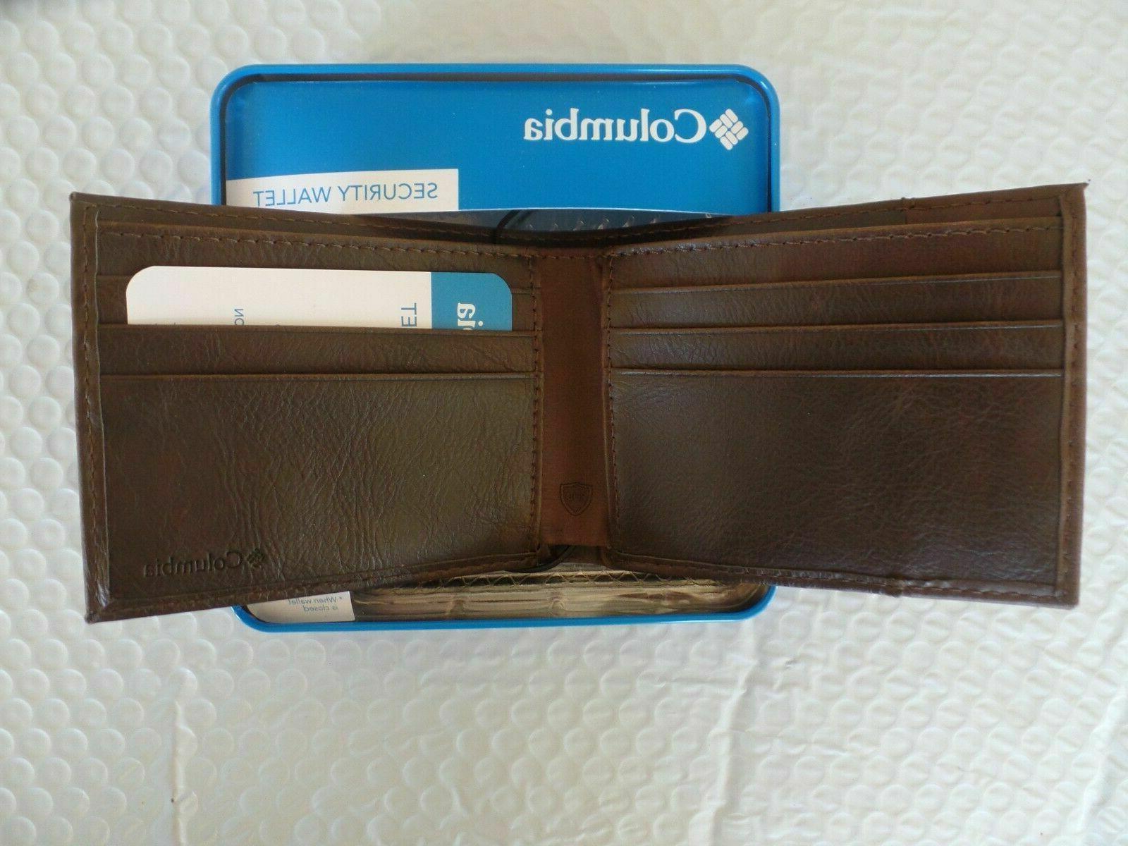 Columbia Bi-Fold RFID Shield Wallet BROWN