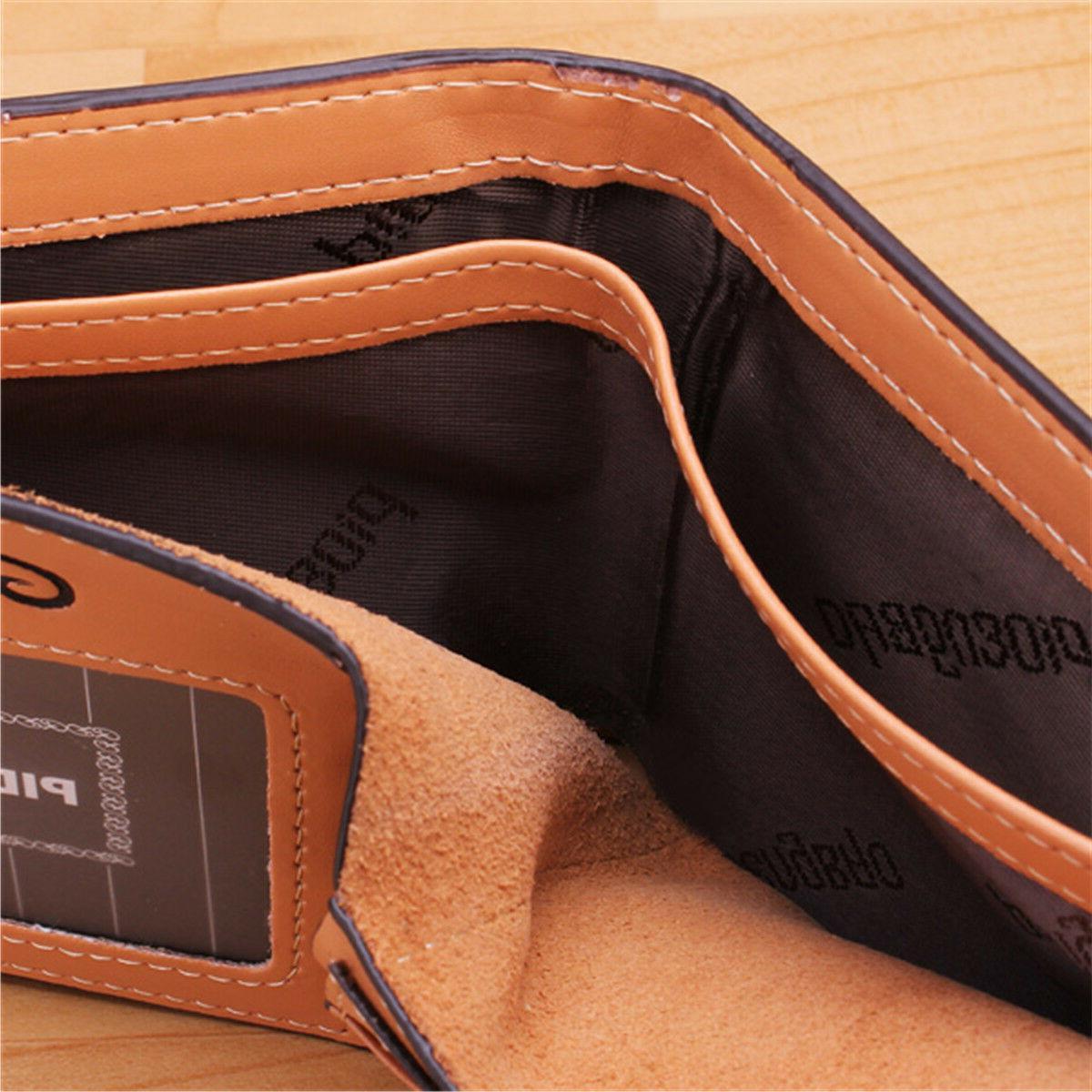 Men's Leather Bifold ID Card Purse Billfold Handbag Slim