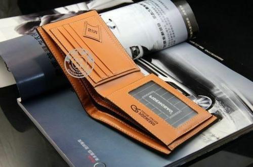 Men's Leather Card Holder Purse Wallet Billfold Handbag Slim Clutch