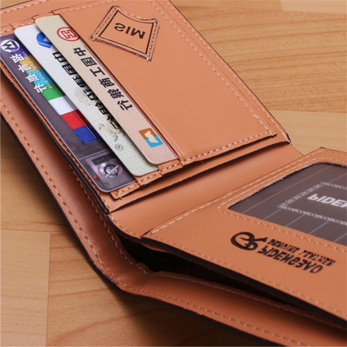 Men's Leather Bifold Card Purse Wallet Billfold