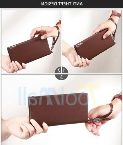 Men's Card Holder Long Purse Checkbook Clutch