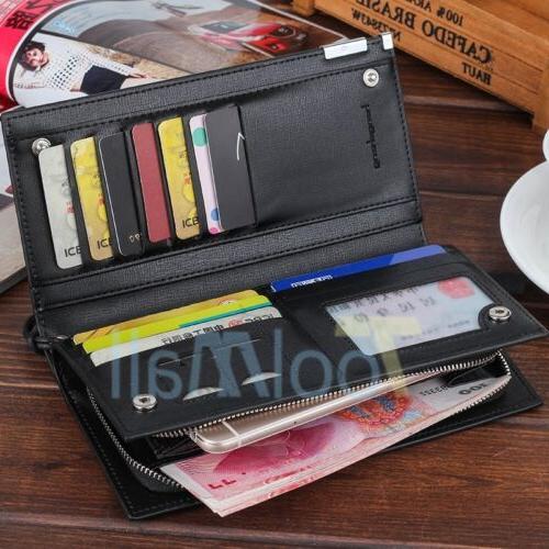 Men's Leather Card Holder Long Purse Checkbook