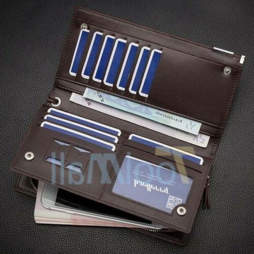 Men's Leather Bifold ID Card Long Purse Checkbook Clutch