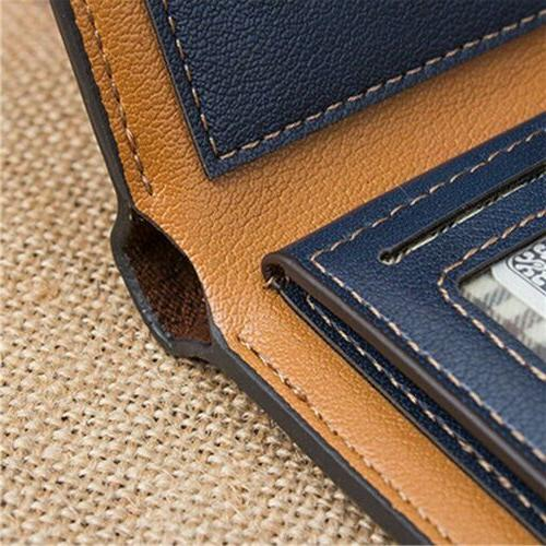 Men's Leather Pockets ID Holder Clutch Bifold Purse US Ship