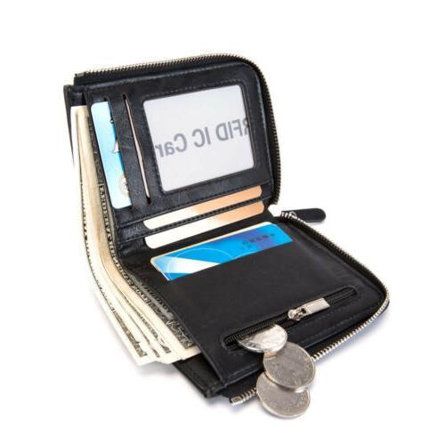 Men's RFID Business Leather Bifold Coin Pocket Card Holder
