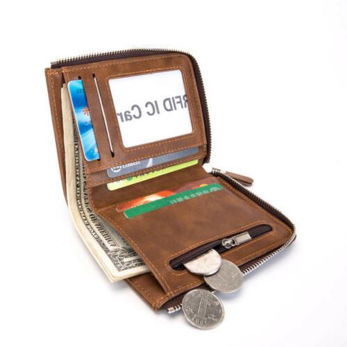 Men's Bifold Zipper Purse Pocket Card Wallets