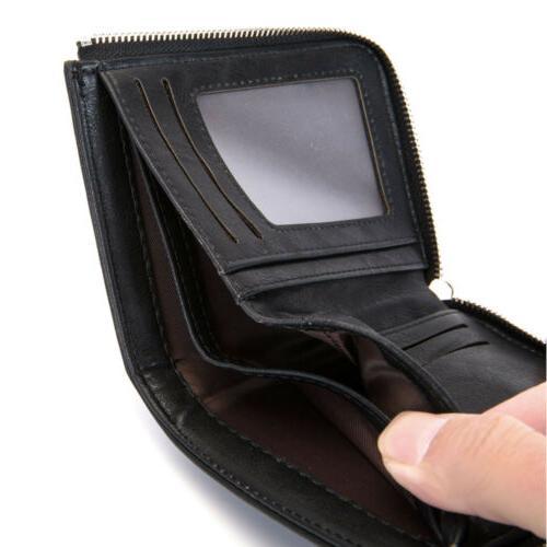 Men's Bifold Zipper Coin Pocket Card Holder Wallets