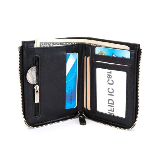 Men's Bifold Zipper Coin Pocket Holder