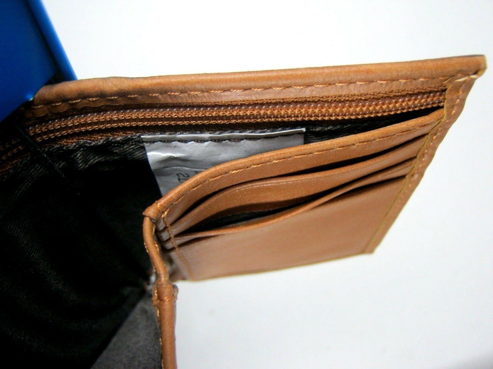 Columbia Men's Trifold Security RFID Blocking Tan Zip 31CP110007