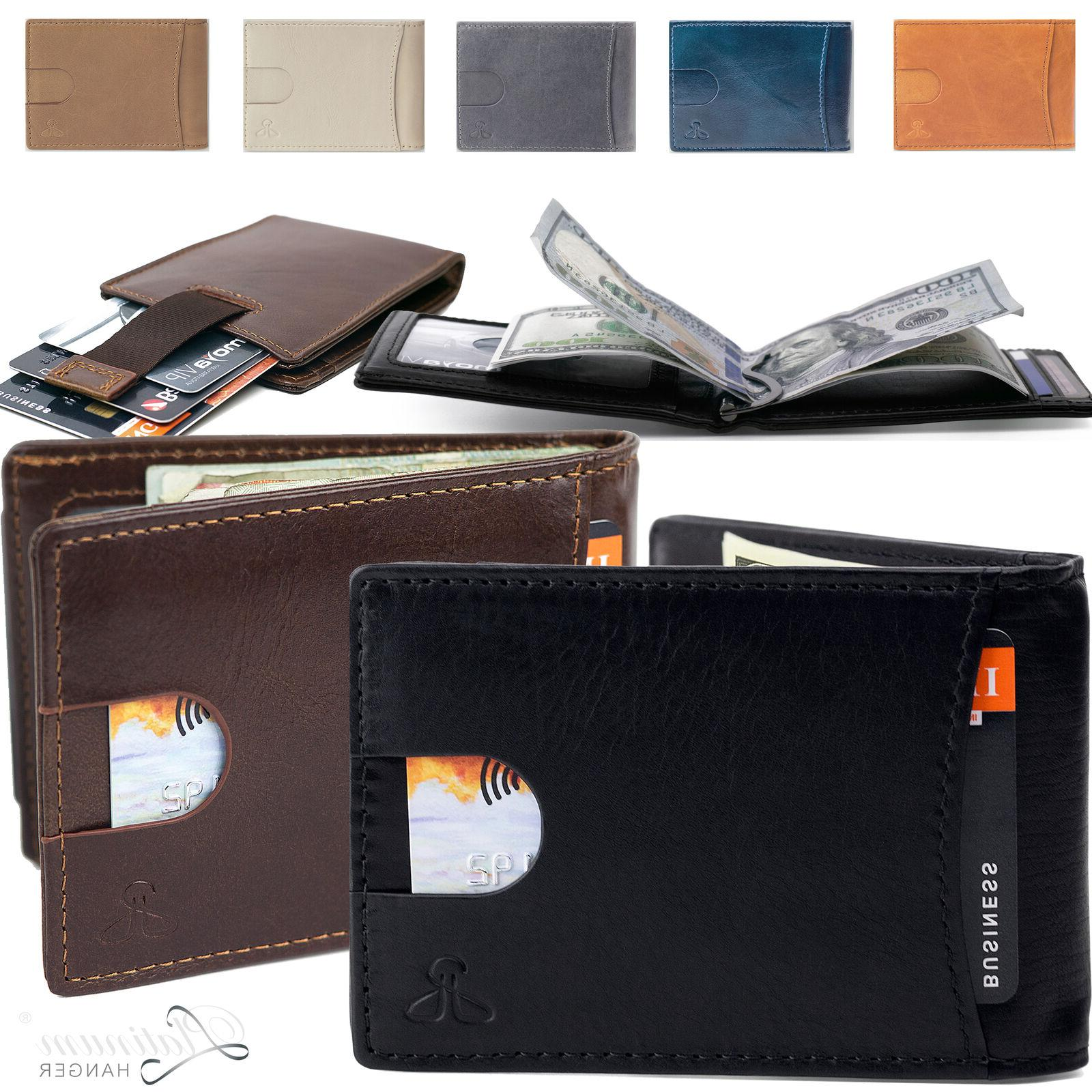 Men Slim Bifold ID Credit with Money Clip