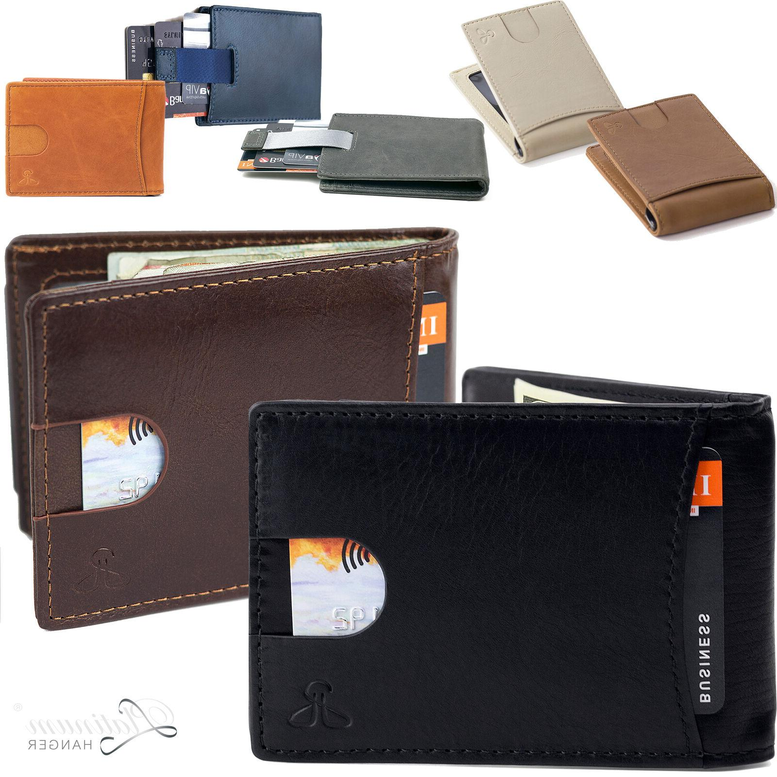 men slim leather bifold id credit card