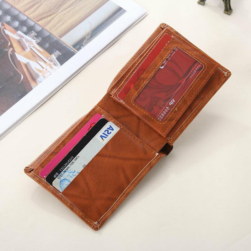Men Dollar Bill Wallet PU Leather Credit Billfold