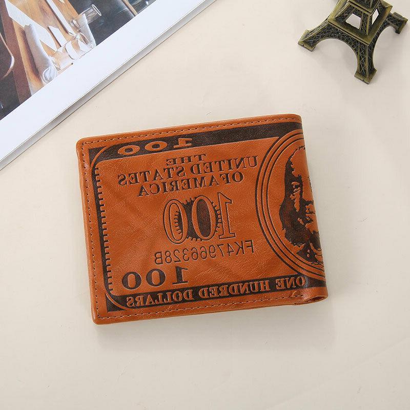 Men Dollar Wallet PU Card Photo Bifold Billfold