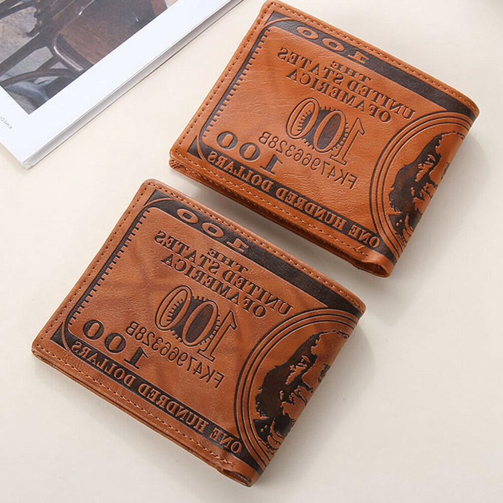 Men Dollar Wallet Leather Card Billfold
