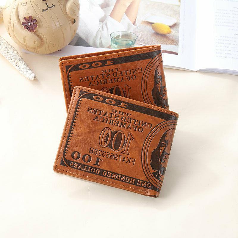 Men Dollar Wallet PU Card Photo Billfold