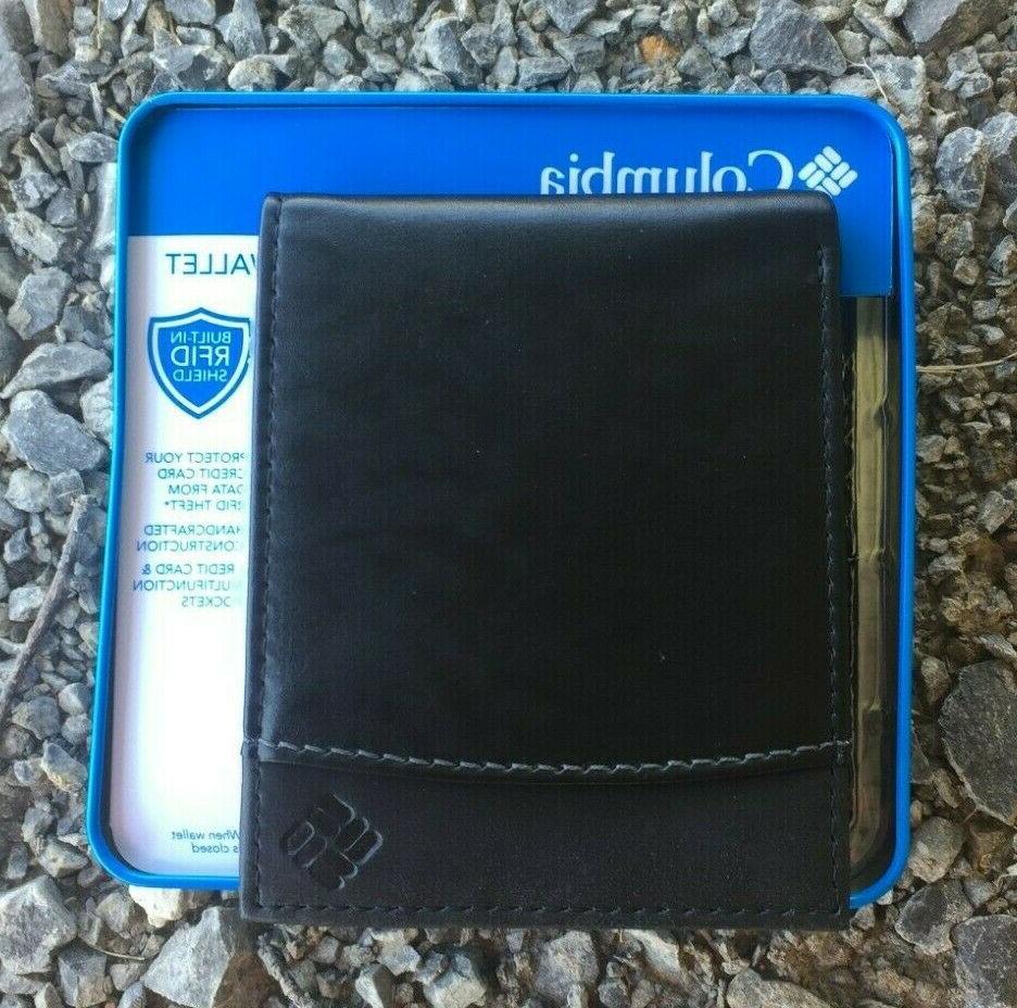 Columbia Bifold Security Wallet RFID Passcase Black NIB