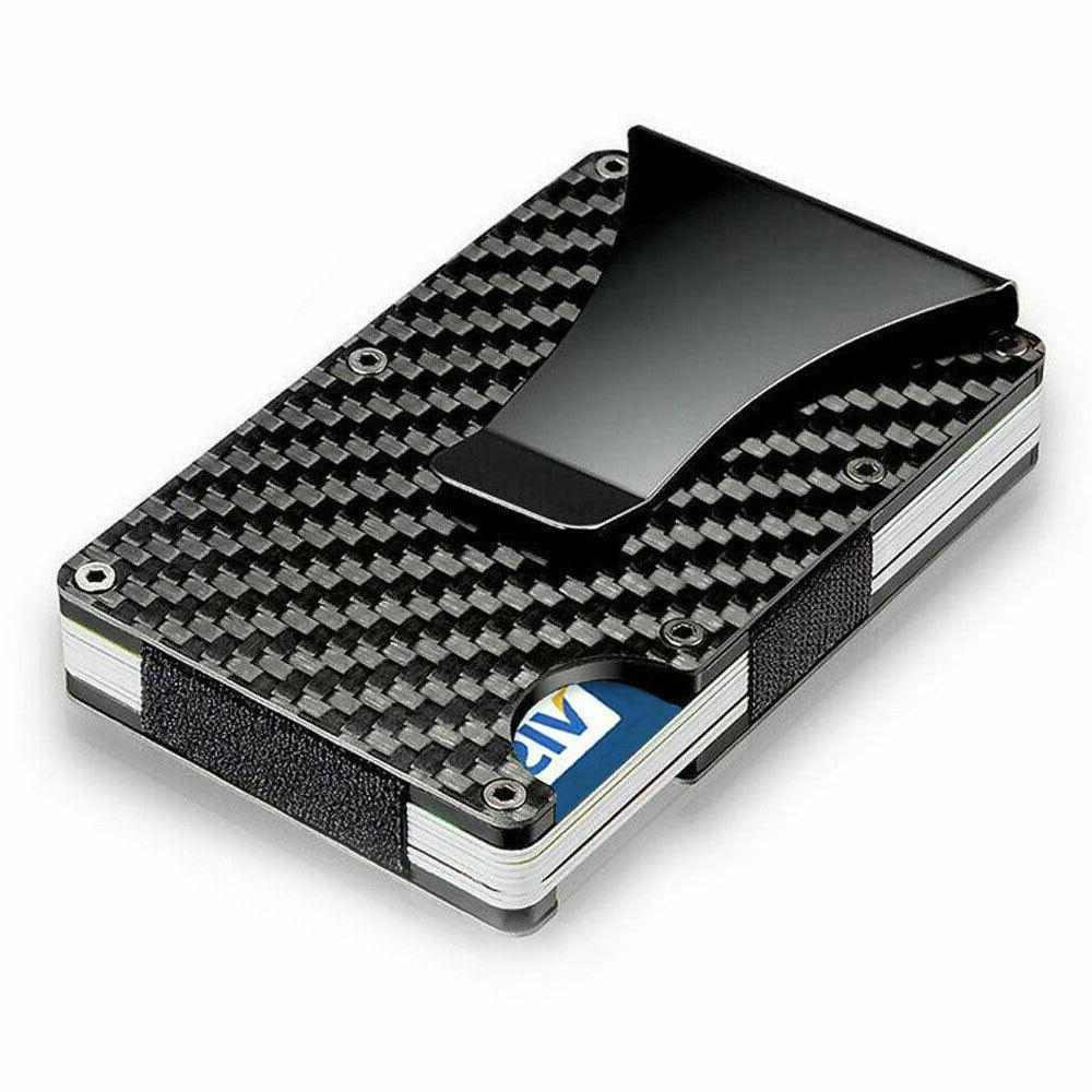 rfid blocking slim money clip mens carbon