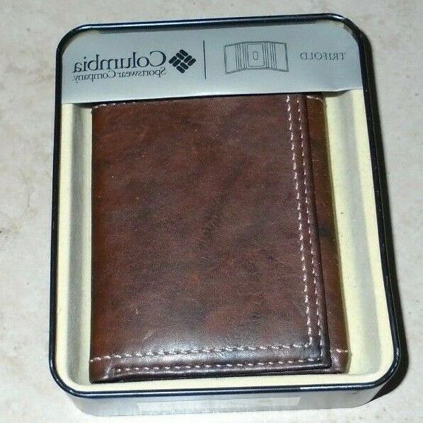 Columbia Mens Trifold Brand New Leather Brown Wallet Retail