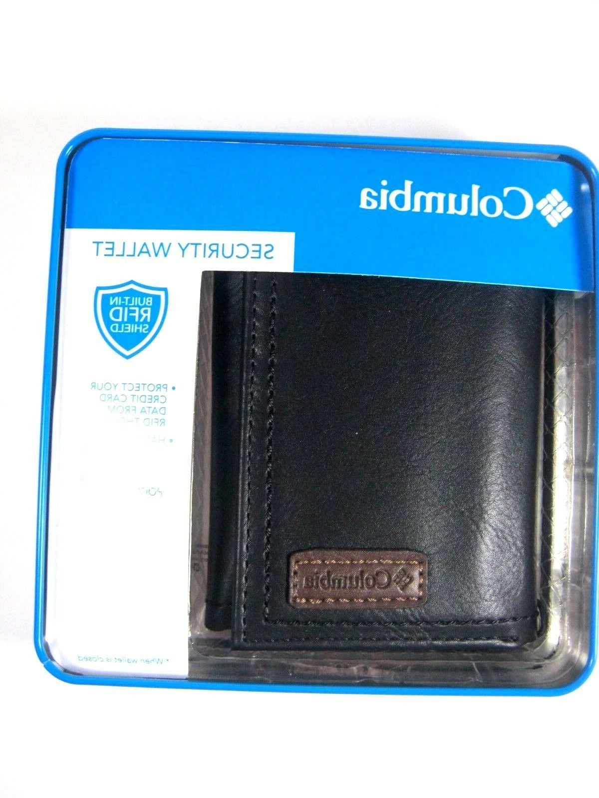 Columbia Trifold Security RFID Blocking Leather Wallet Black