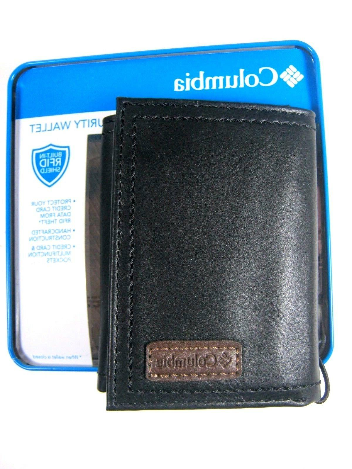 mens trifold security rfid blocking leather wallet