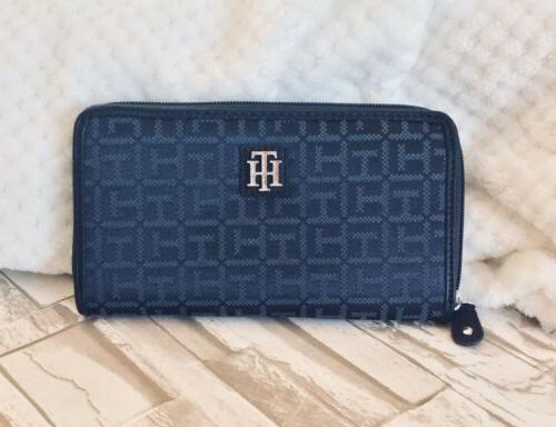 navy long zip around logo wallet nwot