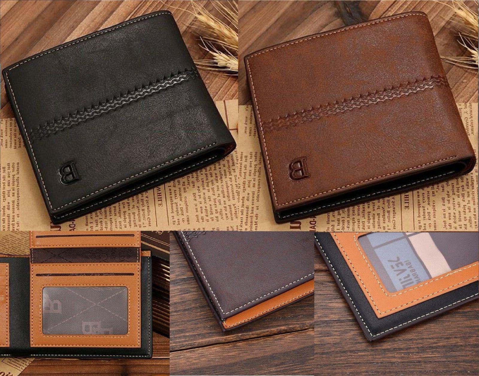 New Leather Bifold ID Wallet Billfold