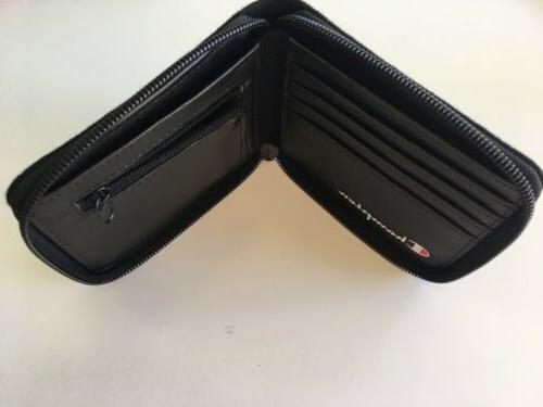 New Men's Zip Street Skater Designer Wallet Black