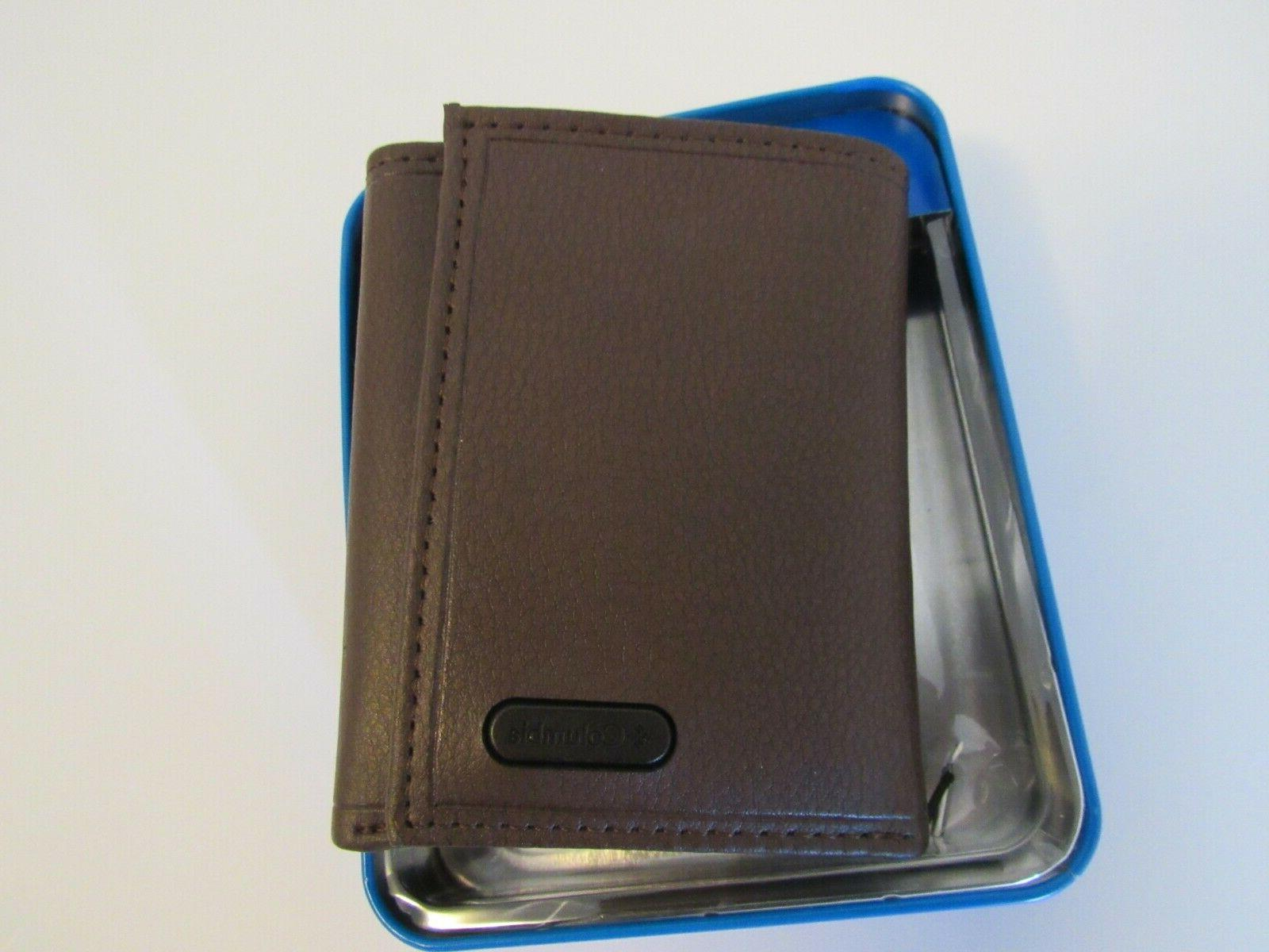 nwt coated leather cover bifold black metal