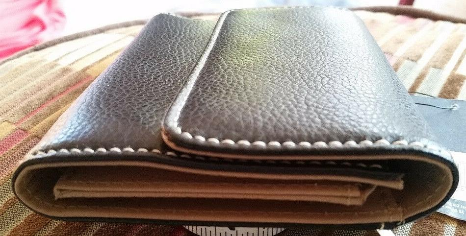 NWT Simple Pebbled Leather Trifold Wallet