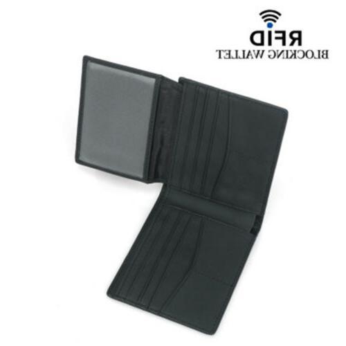 RFID Blocking Men's Carbon Fiber Leather Card Wallet US