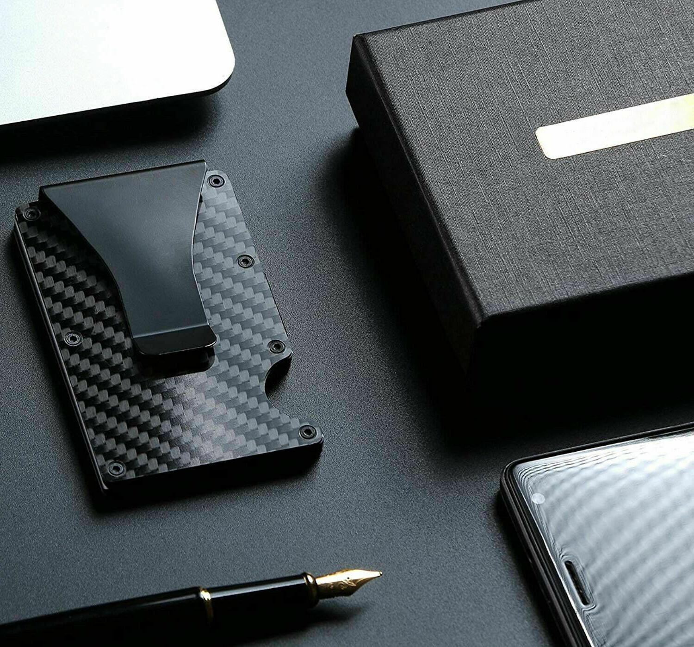 Carbon Fiber RFID Blocking Slim Money Clip Card Holder Men's Gift