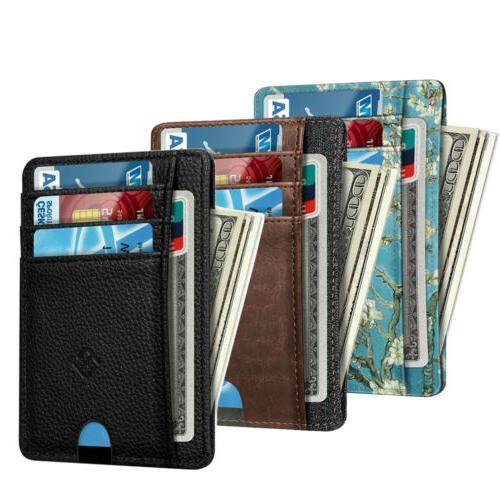 RFID Blocking Mens Leather Slim Wallet Money Credit Card ID