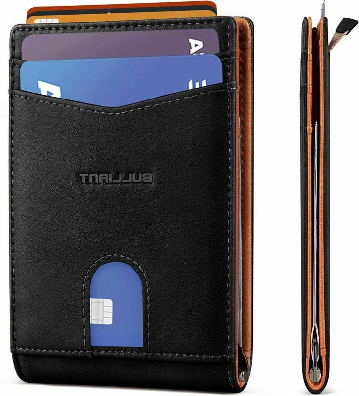 Slim Bifold Wallet,Bulliant Money Clip Minimal Pocket Wallet