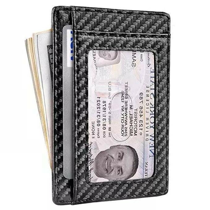 Slim Front Pocket RFID Carbon Wallets Mens