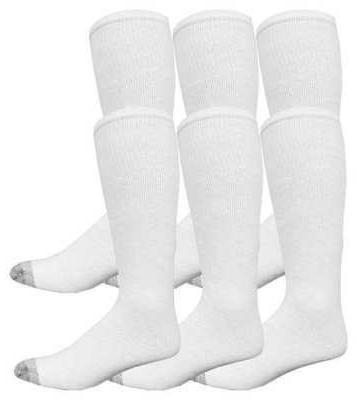 socks 10 13 wht reinforced toe pk6