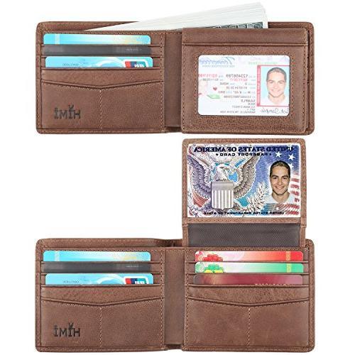 Wallet for Men-Genuine Leather RFID Blocking Bifold Stylish Wallet Window