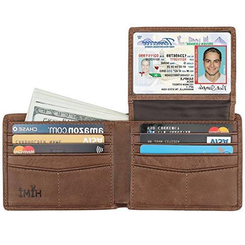 wallet for men genuine leather rfid blocking
