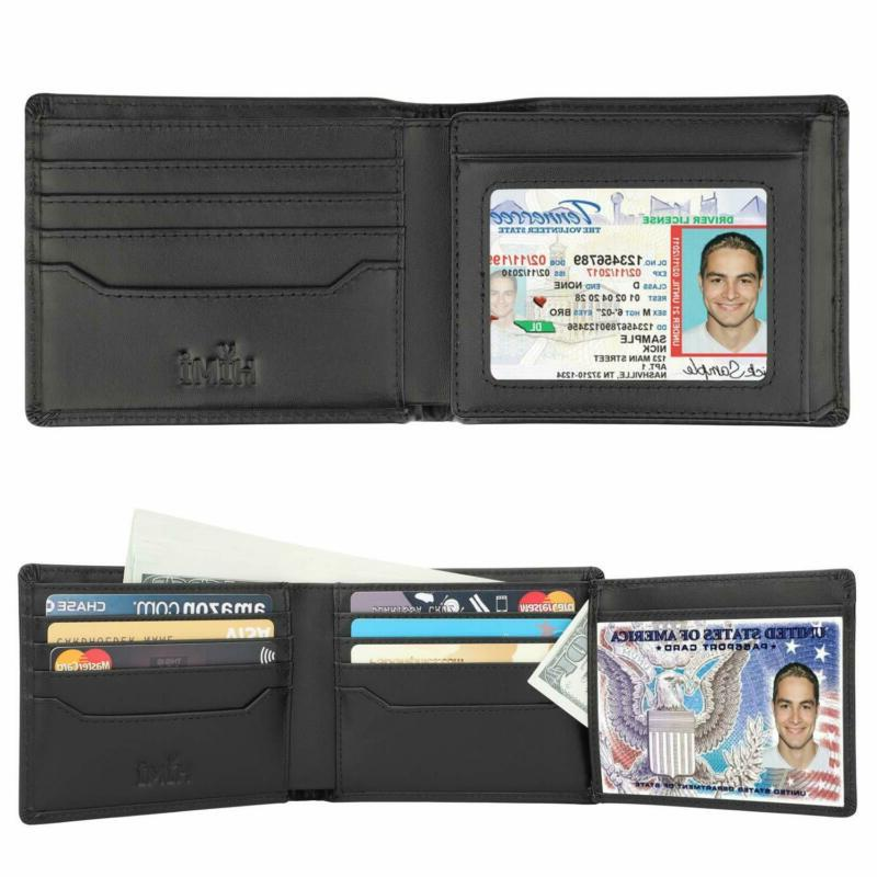 Wallets for Men RFID Genuine Leather 2 ID Window