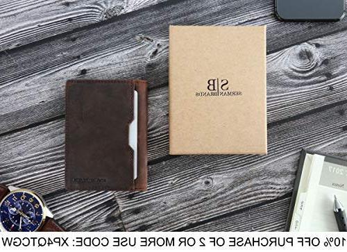 Wallets Mens leather RFID Minimalist Card Bifold