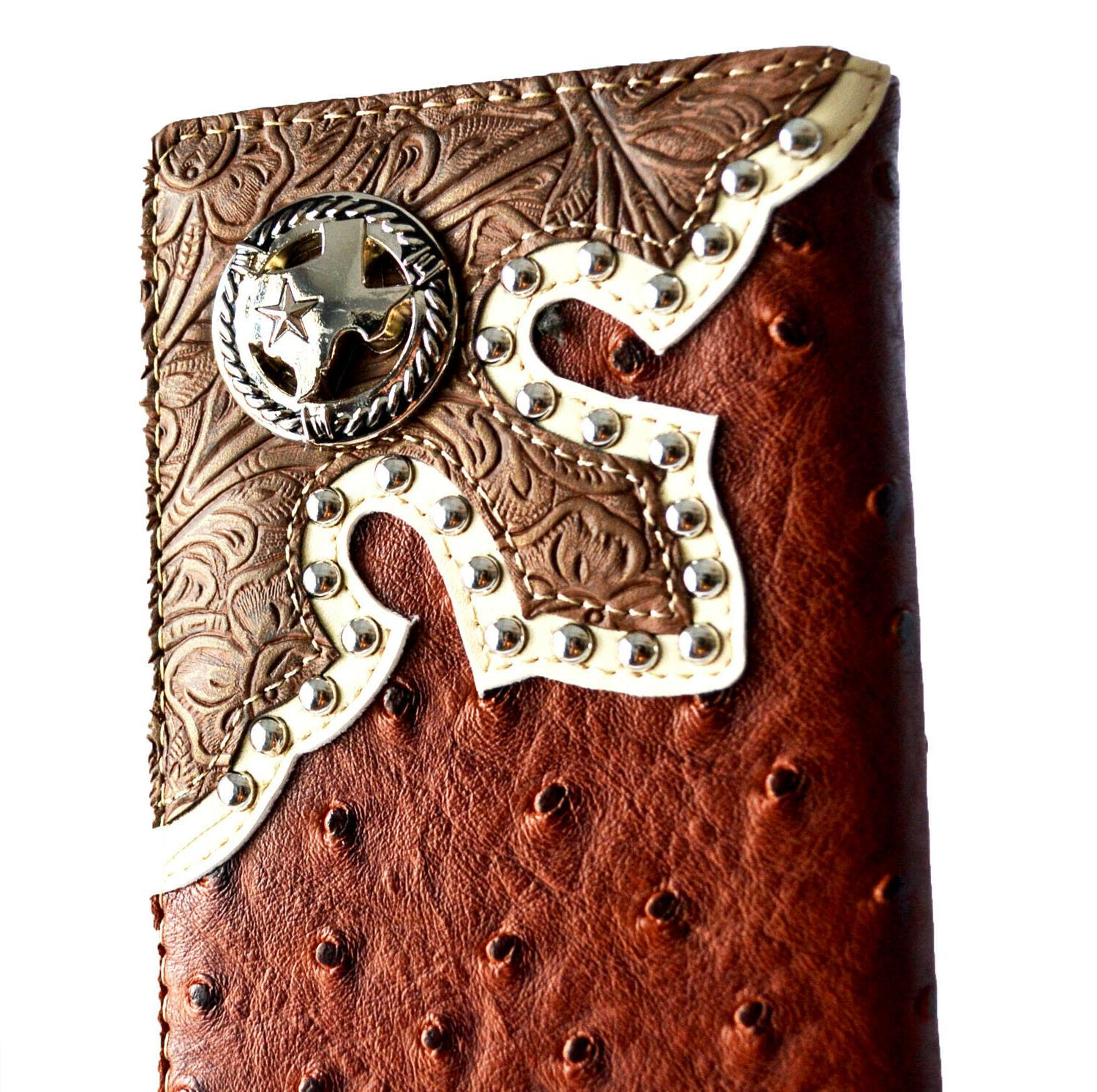 Western wallets for Horse Texas State Map Long Brown