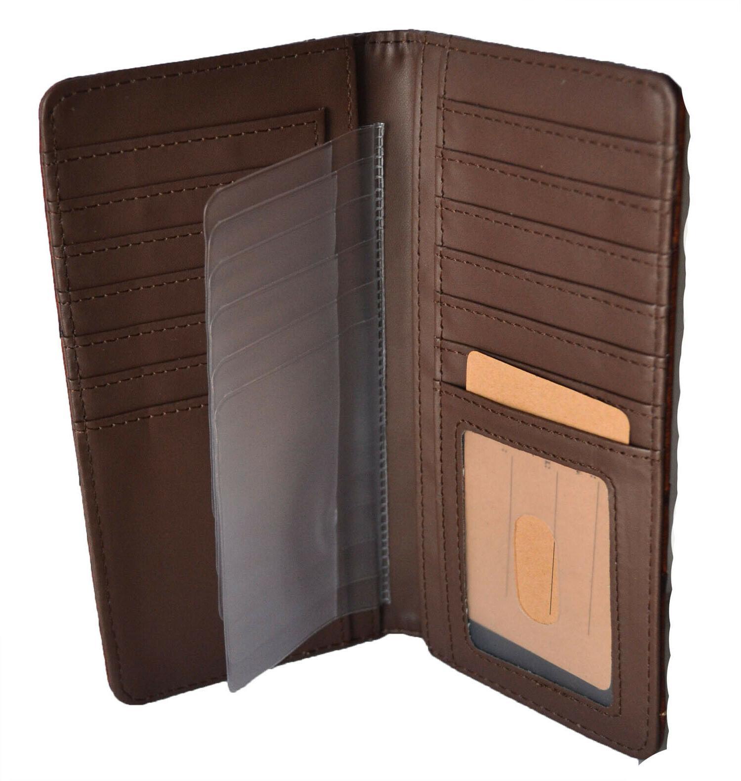 Western wallets for mens Horse State Long Bi-fold Wallet Brown