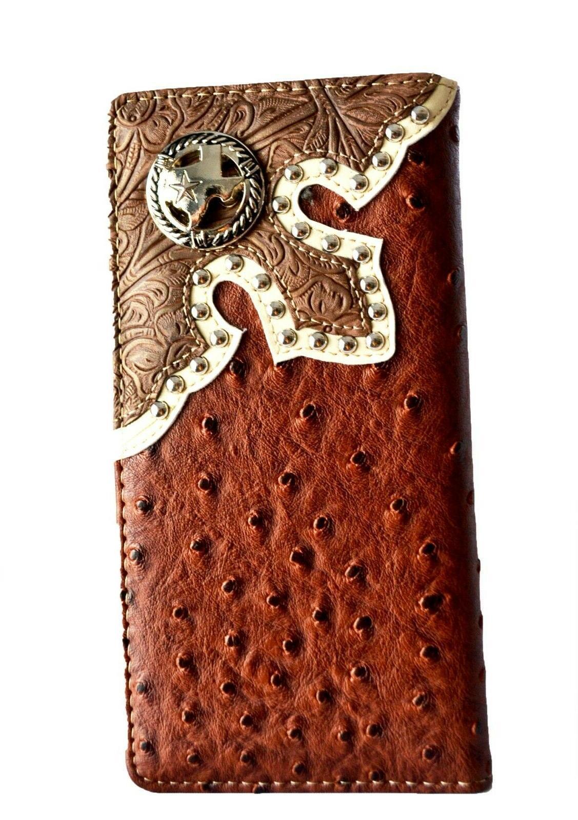 Western Horse Long Bi-fold Wallet Brown