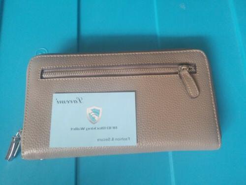 women s rfid blocking leather zip wallet
