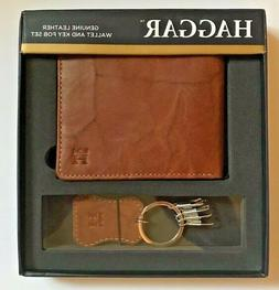 Haggar Leather Bifold Wallet and Key Fob Gift Set Men's Brow