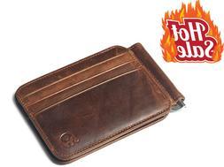 Men's Leather Slim Spring Money Clip Wallet Front Pocket Cre