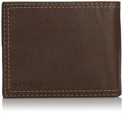 Levis Mens Extra Capacity Leather Slimfold Wallet, Brown, On