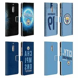 MAN CITY FC 2019 CHAMPIONS LEATHER BOOK WALLET CASE FOR MICR