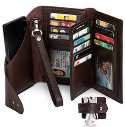 Marsyella RFID Wallet for Women with Wrist Strap with Cell P